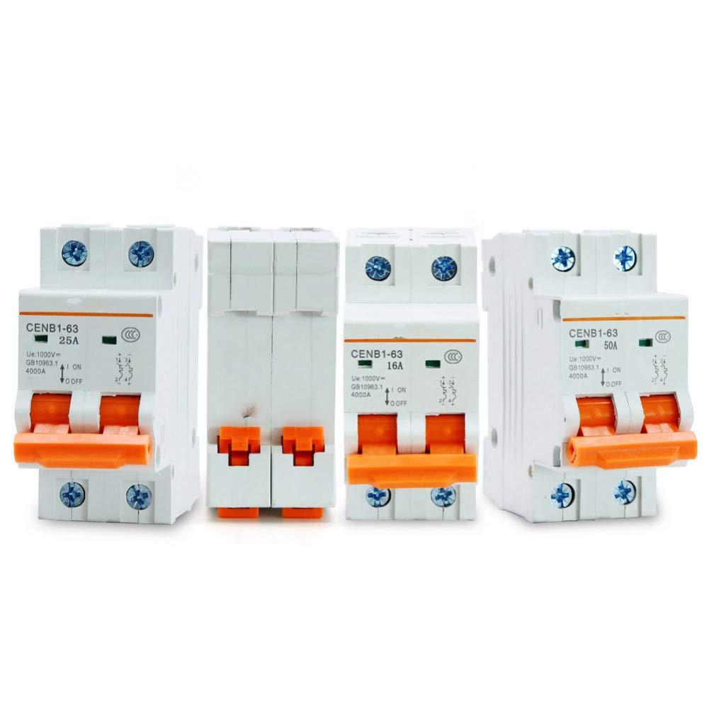 DLQLBD Disyuntores Rendimiento Limitador De Corriente 2P Dc 1000V Disyuntor Solar Disyuntor Dc 10A 16A 25A 32A 40A 50A 63A Interruptor Mcb E369E