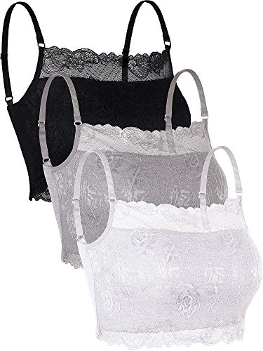 Skylety 3 Pieces Lace Cami Half Lace Camisole Neck Lace Bralette Top for Women Girls (Color Set 3, L) ()