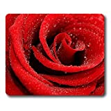 Online Designs Real flowers big red drops Square mouse pad keyboard tray 9 * 7.5inch