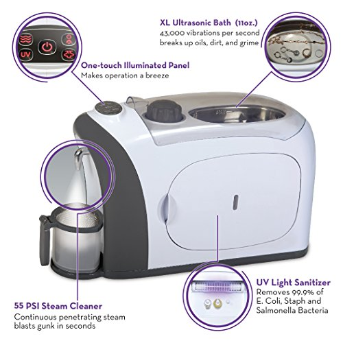 Dazzle 3 in 1 Ultrasonic Jewelry Cleaner Machine, Jewelry Steam Cleaner, UV Light Sanitizer (Kills 99.9% Bacteria) | Professional Grade for Rings, Watches, Earrings, Pacifiers, Eyeglasses, Dentures by Sienna Appliances (Image #4)