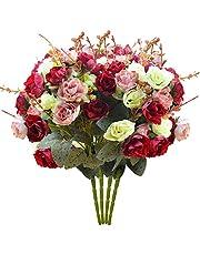 PETAFLOP Artificial Flowers Roses Fake Flowers Wedding Decorations, 25 Pieces