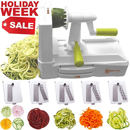 iralizer (BR-5B-02): Strongest-and-Heaviest Duty Vegetable Spiral Slicer, Best Veggie Pasta Spaghetti Maker for Low Carb/Paleo/Gluten-Free, With Extra Blade Caddy & 3 Recipe Ebooks (White Pasta Recipes)