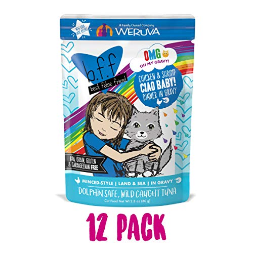 B.F.F. Omg - Best Feline Friend Oh My Gravy!, Ciao Baby! With Chicken & Shirmp In Gravy Cat Food By Weruva, 2.8Oz Pouch (Pack Of 12)