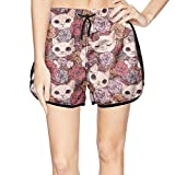 Women's Roses in The cat Beach Shorts Watersports Swim Wear Quick-Dry Boardshorts
