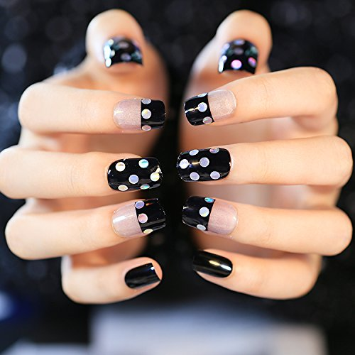 Yunail Shinning Fake Nails with Rhinestone Decor 24Pcs ...