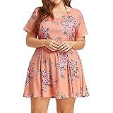 Vintage Dress,Han Shi Women Plus Size Short Sleeve Floral Print Beach Party Sundress (Orange, XL)