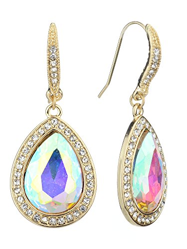 (Women's Elegant Gala Teardrop Stone Dangle Pierced Earrings, Aurora Borealis/Gold-Tone)