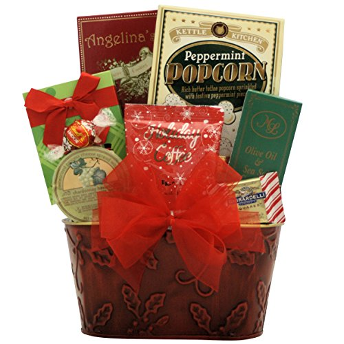 GreatArrivals Christmas Holiday Gourmet Gift Basket: Joyful Holidays Small - Red & Green (Corporate Holiday Gifts For Clients)
