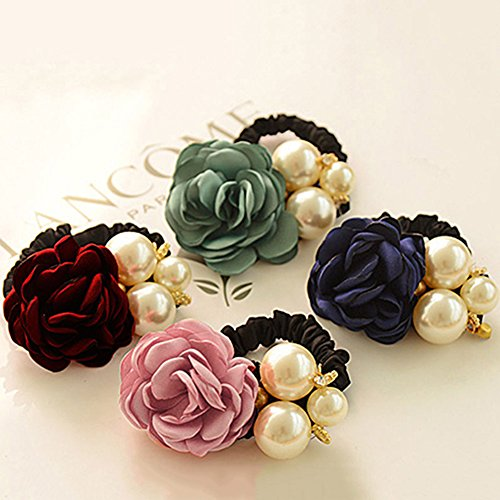 Bluelans Hair Accessories, 4pcs Women Satin Ribbon Rose Flower Pearls Ponytail Hair band (4pcs) (Pony Pearl)