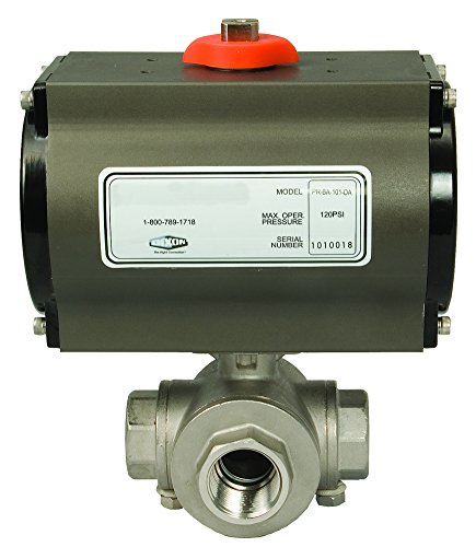 Dixon BV3IGTF-0751BBC 316SS 3-Way Pneumatic Actuated Ball Valve, T-Port FNPT, R and P, AL, SR, 3/4