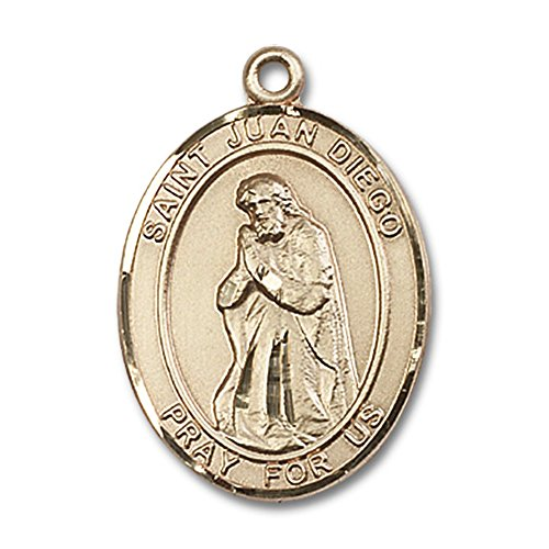 Custom Engraved 14kt Yellow Gold St. Juan Diego Medal 1 x 3/4 inches