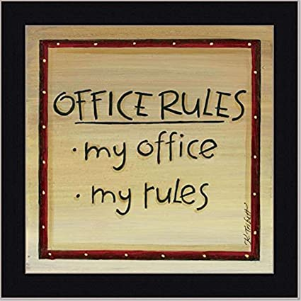 My Office Rules Decor Sign Wall Art Gift Framed Art Print Picture Wall Decor