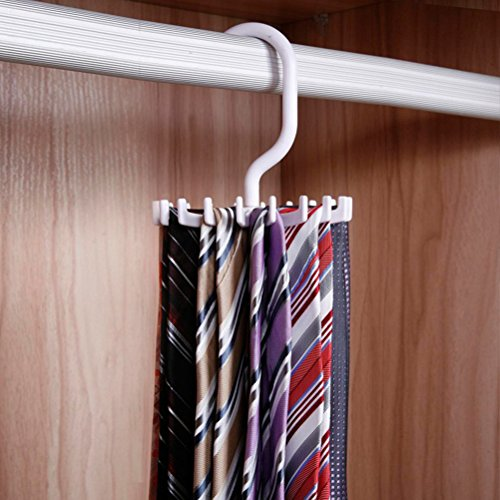 iSuperb 2 Pack Tie Rack Rotating Twirling Tie Rack Organizer Hanger Holder Closet Storage White and Black with Gift Box