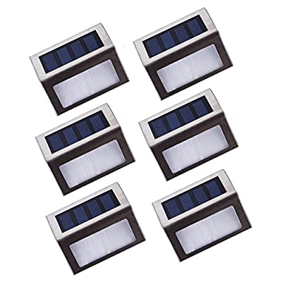 Lightess Solar Stair Lights Outdoor LED Step Lighting 2 LEDs Stainless Steel Pack of 6