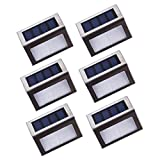 Lightess Solar Stair Lights Outdoor LED Step Lighting 2 LEDs Stainless Steel For Steps Deck Paths Patio Pack of 6