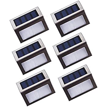 Lightess Solar Stair Lights Outdoor LED Step Lighting 2 LEDs Stainless  Steel For Steps Paths Patio
