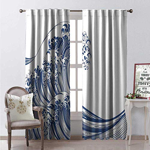 Hengshu Japanese Wave Thermal Insulating Blackout Curtain Oriental Vintage Great Wave Monochrome Kanagawa Inspired Antique Art Blackout Draperies for Bedroom W108 x L84 Navy Blue White