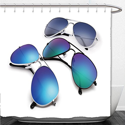 Interestlee Shower Curtain aviator sunglasses isolated on white background with blue mirrored lenses - Sunglasses Haymaker