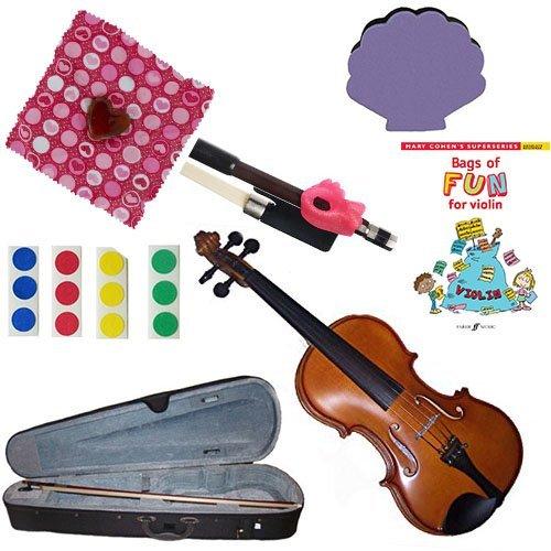 Children's Violin Beginner Violin Pack 1/16 (3-5yr old) -with Beginner Violin Book, Finger Markers, Heart Rosin, Seashell Chin Rest, Pink Hold Fish by Chidrens Violin Beginner Packs