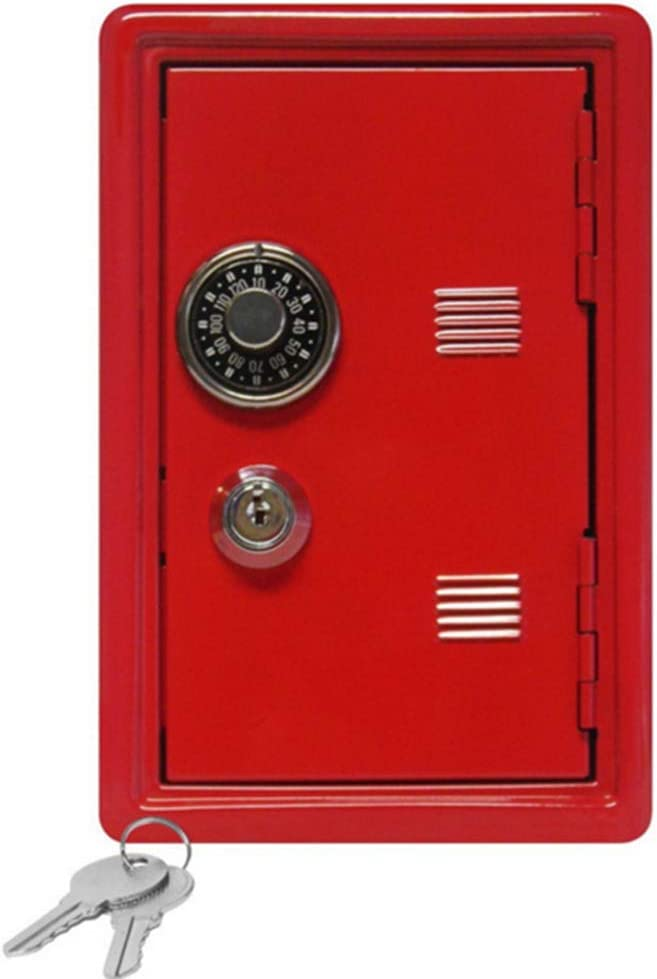 FairOnly Metal Piggy Bank 18cm Safe Box Small Storage Jewelry Box Gift red 1 Layer Convenient