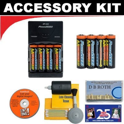 (Deluxe Accessory Kit with Charger & 8 AA Rechargeable Batteries For The Olympus C-4000, C-4040, C-3040, C-3030, C-3020, C-2020, C-2040, C-720, C-700, C-300, E-100 RS Digital Cameras)