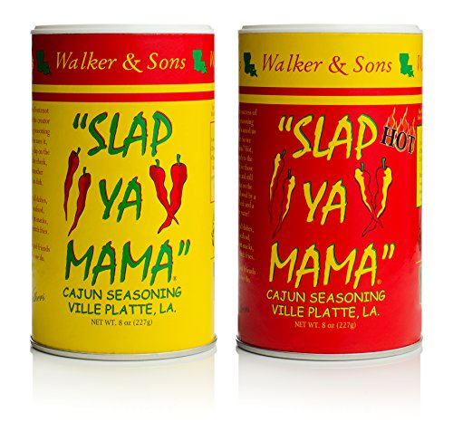 SLAP YA MAMA All Natural Cajun Seasoning from Louisiana, Spice Variety Pack, 8 Ounce Cans, 1 Original Cajun and 1 Hot Cajun Blend (Best Cajun Spice Brand)