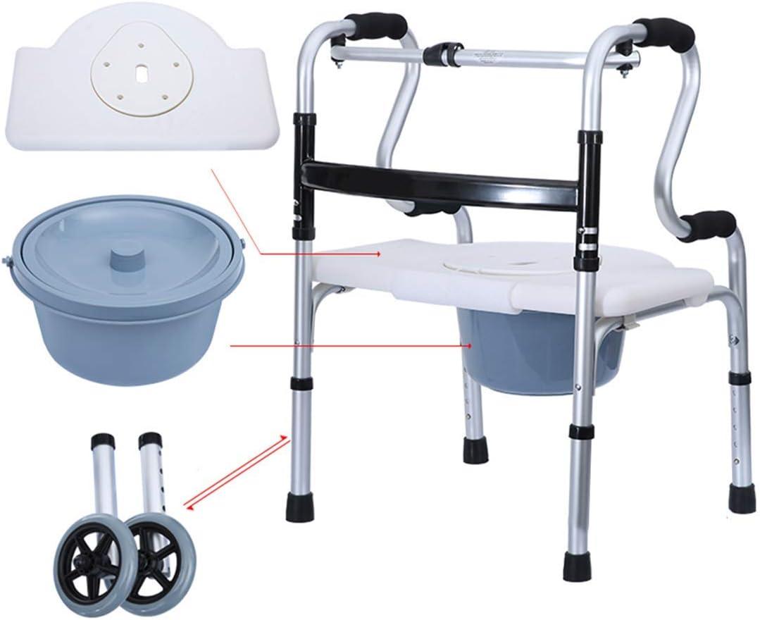 Los adultos de la cómoda silla con ruedas/Ruedas y el asiento acolchado, ajustable de aluminio con Elevación de la pierna de baños químicos portátiles de mano Easy Transfer ahorro de espacio