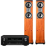 Denon AVR-X1400H 7.2 Channel Full 4K Ultra HD Network A/V Receiver with Polk TSi300 Tower Speakers - Pair (Cherry)