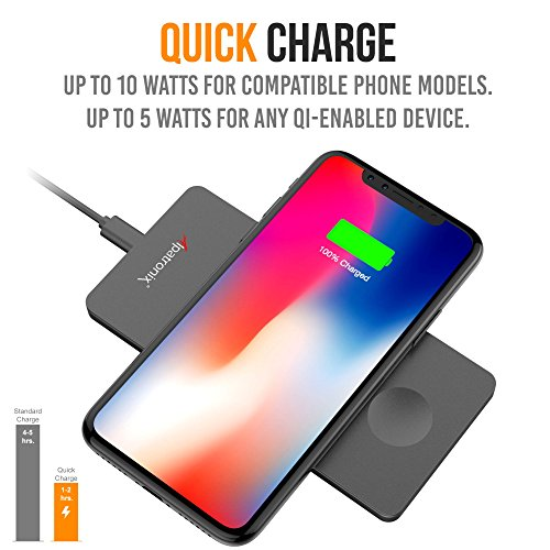 Wireless Charger, Alpatronix CX101 Quick Charge Qi Charging Pad Compatible for iPhone 11/Pro Max/XS Max/XS/XR/X/8/8 Plus, Galaxy S10 Plus/S10/S9+/S8+/Note 8, Qi-Enabled Phones (No AC Adapter) Black