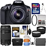 Canon EOS Rebel T6 Wi-Fi Digital SLR Camera & EF-S 18-55mm IS II with 75-300mm III Lens + 32GB Card + Case + Battery + Tripod + Filter + 2 Lens Kit
