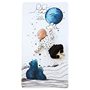 100% Cotton Super Soft Baby Crib Sheet - Hypoallergenic and Breathable Crib Mattress Topper - Original Design by JumpOff Jo - to The Moon Series - Mama Bear Blue