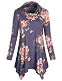 Cestyle Tunic Sweater, Women's Long Sleeve Cowl Neck Buttons Embellished Flower Pattern Flare Hem Tshirt Dresses Cotton-Blend Pullover Sweatshirts to wear with Leggings Multi-Purple Large