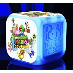 SUPER MARIO BROS 7 Colors Change Digital Alarm LED Clock Game Cartoon Night Colorful Toys for Kids (Style 10)