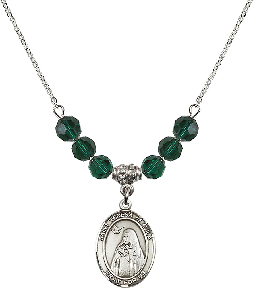 18-Inch Rhodium Plated Necklace with 6mm Emerald Birthstone Beads and Sterling Silver Saint Teresa of Avila Charm.