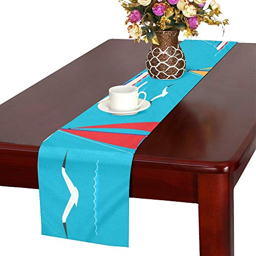 VNASKL Windsurfer Hand Drawn Seaside Table Runner, Kitchen Dining Table Runner 16 X 72 Inch for Dinner Parties, Events, Decor from VNASKL