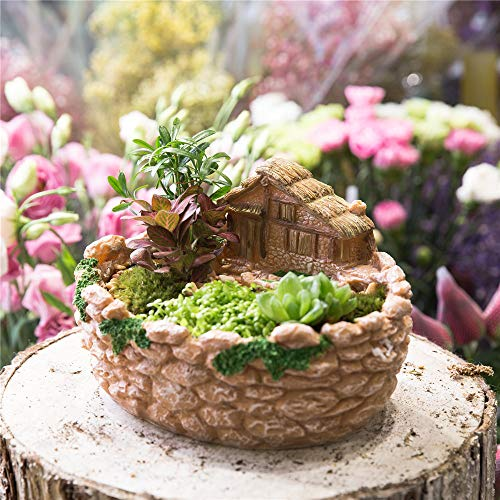 Planter Assortment - TreeMart Miniature Decorative Cottage Fence Sculpture Succulents Planter Fairy Garden Vertical Plants Flower Pot Resin Planter Bonsai Pot