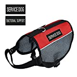 Pretty Pets Lightweight Mesh Harness Service Dog Vest with 2 Removable Service Dog Patches and 2 Emotional Support Patches, Girth:17-21 -Inch, Red