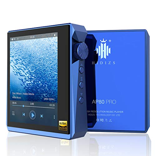 HIDIZS AP80 PRO Hi-Fi MP3 Player with Bluetooth, High Resolution Lossless Music Player with LDAC/aptX/FLAC/Hi-Res Audio/FM Radio, DSD Support Hi-Res Audio Player with Full Touch Screen (Blue)