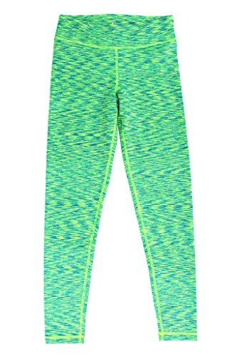 90 Degree by Reflex - Kids Space Dye Yoga Pants - Junior Leggings - Neon Lime Aqua Space Dye Medium (10) (Aqua Lounge 4)