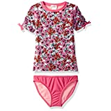 Jessica Simpson Big Girls' Ditsy Floral Short Sleeve Rash Guard Two Piece Swimsuit Set, Pink, 8
