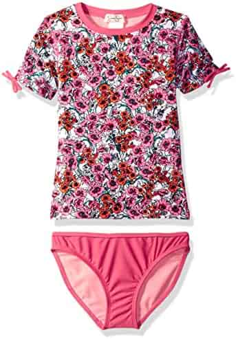 Jessica Simpson Big Girls' Ditsy Floral Short Sleeve Rash Guard Two Piece Swimsuit Set