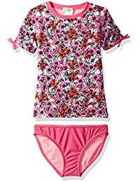 Big Girls' Ditsy Floral Short Sleeve Rash Guard Two Piece Swimsuit Set