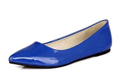 SHOWHOW Damen Bequem Spitz Zehen ohne Verschluss Low Top Lackleder Ballerinas Aprikosenfarben 44 EU 9yTCA