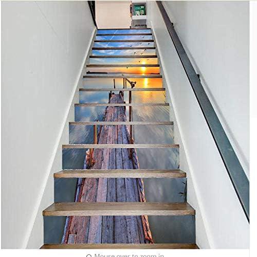 lili-nice Mar Madera Puente Sol 3D Escaleras Pegatinas Escaleras Pegatinas Piso De Pared Decoración Tatuajes De La Sala De Estar Decoración 18 * 100 Cm 1 Set 13 Unids: Amazon.es: Hogar