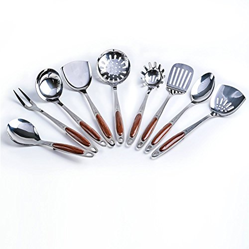 Professional Stainless Steel Kitchen Utensil Set - 9 Pieces - For Chefs and Home Cooks