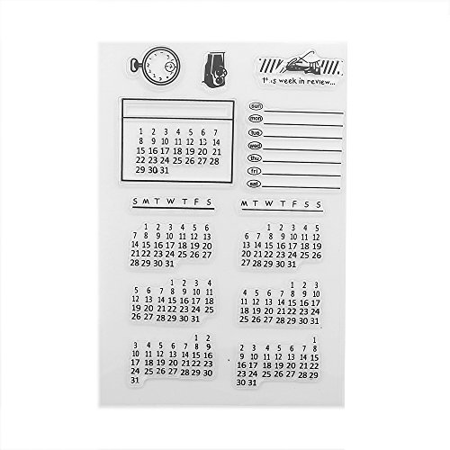 COOLOOdirect Mixed Calendar Planner Clear Transparent Rubber Silicone Stamps Seal Block for Card Making Scrapbooking Decoration Words Journaling DIY Album
