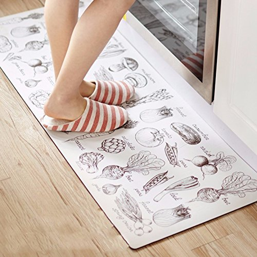 HOMEE Kitchen Floor Mat Anti-Slip Pad Waterproof Oil Resistant Flame Retardant Feet Mat,Combo-Pack Blue,80 X 45 X 45+120