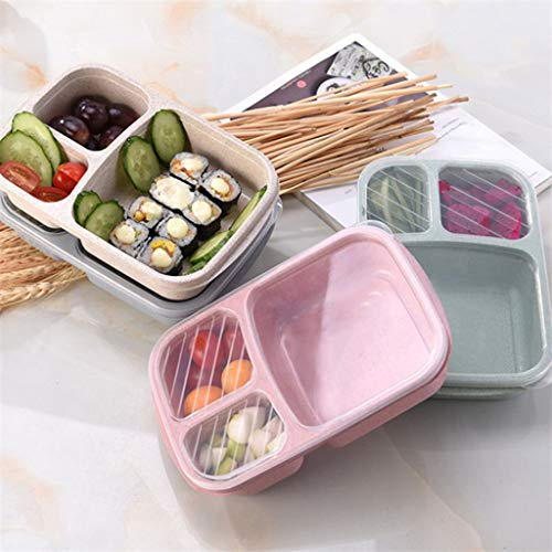 UNSHOU Wheat Straw Bento Box Lunch Box Containers for Kids and Adults - Meal Prep Containers Reusable 3-Compartment Plastic Divided Food Storage Container Boxes(Pink)