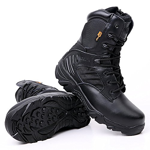 KARKEIN Military Tactical Boots Waterproof Hiking Boots for Men Army Combat Side Zip Work Boots - stylishcombatboots.com