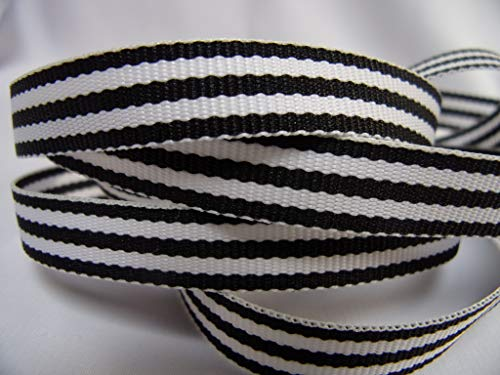 (Grosgrain Ribbon - Black and White Stripes - 3/8